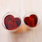 China Heart-shaped Double Wall Glass Mug
