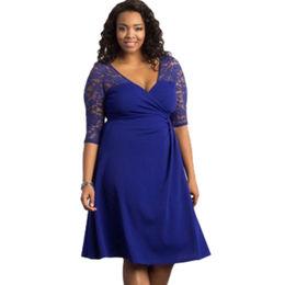 Blue Lavish Lace Half Sleeves Plus Dress
