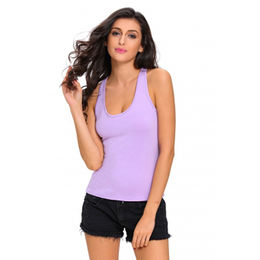 Purple Knot Back Casual Tank Top from China (mainland)