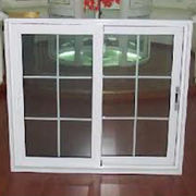 White color PVC sliding glass window with fly screen