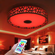 Bluetooth LED ceiling light speaker, phone App controls white, RGB light and music