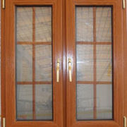 Wood grain PVC swing window
