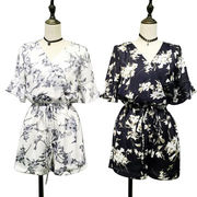 China Trendy Floral Printed Jumpsuits for Women, Made of Chiffon, Waisted Designs
