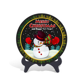 China Home Decorative Snowman Christmas Holiday Gift Plate Activated Carbon Carving Craft