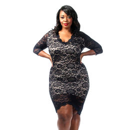 Black Plus Size Laced Overlay Dress Manufacturer