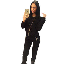Black Zip Detail Casual Two-piece Pants Set from China (mainland)
