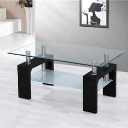 China Home goods modern glass coffee table with shelf