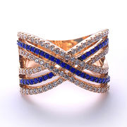 China Peacock Blue Sapphire Bezel Ruby Rings