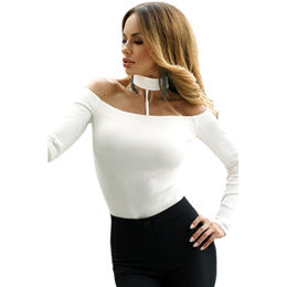 China White Long-sleeved Off-shoulder Choker Bodysuit,Made of Polyester+Spandex,Available in Various Sizes