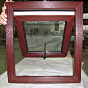 China Wood grain UPVC awning window top hung window