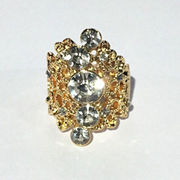 Hong Kong SAR Beautiful Exaggerated Large Hollow Out Rose Gold Plated Flower CZ Diamond Ring Women