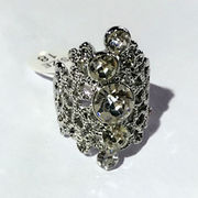 Beautiful Exaggerated Large Hollow Out Plated Flower Diamond Ring Women from HK Yida Accessories Co. Ltd