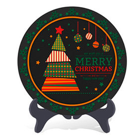 Home Decorative Christmas Holiday Gift Plate Activated Carbon Carving Craft