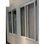 Upvc sliding glass window with grill design