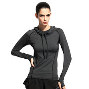 China Ladies' Yoga Shirts with Hood New Styles