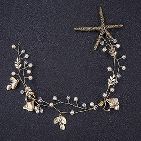 Fancy Bridal Headwear, Decorated with Starfish, Crystals and Imitation Pearls