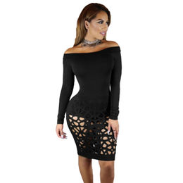China Black Long Sleeve Off Shoulder Hollow Out Bodysuit Dress, Made of Polyester + Spandex