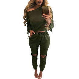 Green Lace Up Long Sleeve Open Knee Pants Set, Made of Polyester+Spandex