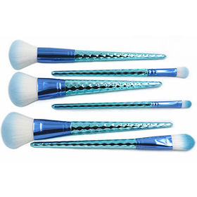 Makeup Brushes 6pcs with Tapered Blue Honeycomb Handles from Shenzhen Rejolly Cosmetic Tools Co., Ltd.