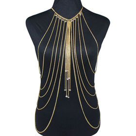 Fashion Statement Body Chain, Decorated with Bright Rhinestones