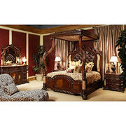 Antique style solid wooden bedroom canopy bed