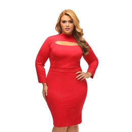 Red Long-sleeved Keyhole Bodycon Plus Size Dress, Made of Polyester + Spandex