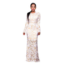 White Embroidery Nude Mesh Gown from China (mainland)