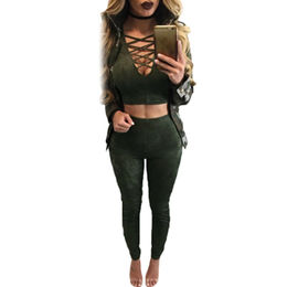 Army Green Long-sleeved Crop Top Faux Suede Pant Set, Made of Polyester + Spandex