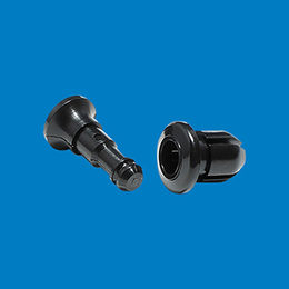 Plastic push rivet in black color from Ganzhou Heying Universal Parts Co.,Ltd