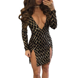 Gold Diamond Sequin Black Double Slit Dress, Made of Polyester + Spandex from Nan'an City Shiying Sexy Lingerie Co. Ltd