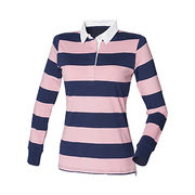 China Long-sleeved women's stripe polo shirts