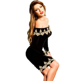 Embroidered Hem Velvet Party Dress, Made of Polyester + Spandex from Nan'an City Shiying Sexy Lingerie Co. Ltd