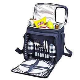 Outdoor 2 Persons Blue Tartan Picnic Backpack with Cooler Compartment, Detachable Bottle/Wine Holder