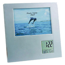 Promotional customized gift desk clock with multi-function and photo frame