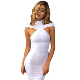 White Triangle Cutout Bandage Dress, Made of Polyester + Spandex from Nan'an City Shiying Sexy Lingerie Co. Ltd