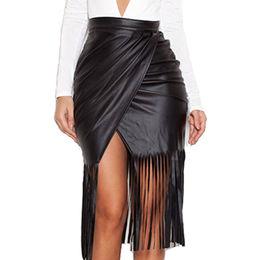 China Black High Waist Faux Leather Fringed Skirt