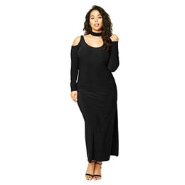 Black Cold Shoulder Choker Neck Plus Size Maxi Dress, Made of Polyester + Spandex from Nan'an City Shiying Sexy Lingerie Co. Ltd