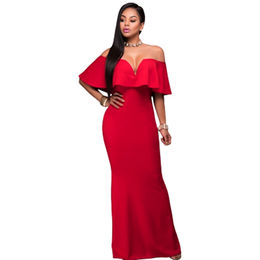 Red Ruffle Off-shoulder Maxi Party Dress, Made of Polyester + Spandex