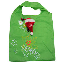 Polyester foldable shopping bag, Christmas cap shape, customized colors/shapes are accepted