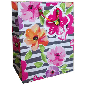 China Flower printing handmade paper gift bag with ribbon handle
