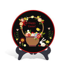 China Home Decorative Easter Holiday Gift Plate Activated Carbon Carving Craft