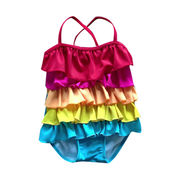 Girls' one piece swimwear with frills on front panel, with UPF50+