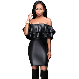Black Ruffle Off Shoulder Leather Mini Dress, Made of Polyester + Spandex from Nan'an City Shiying Sexy Lingerie Co. Ltd