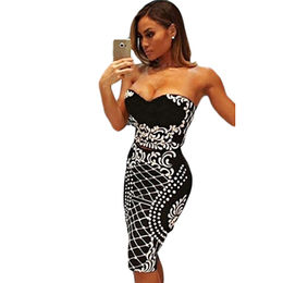 Floral Bandeau Crop Top Bodycon Midi Skirt 2pcs Bandage Dress, Made of Polyester + Spandex from Nan'an City Shiying Sexy Lingerie Co. Ltd