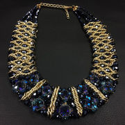 China Luxurious Handmade Crystal Beaded Choker Necklace, Multilayer Designs