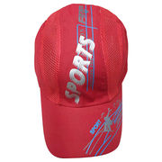 Red Summer Sports Cap with Mesh on the Sides,Custom Prints are Available