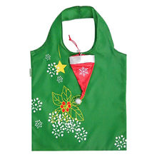 Polyester foldable shopping bag, Christmas cap style, customized colors/patterns are accepted