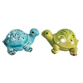 Ceramic tortoise LED light garden decoration, small animal with LED light outdoor
