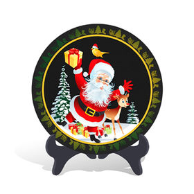 China Home decorative Christmas Father Holiday Gift Plate Activated Carbon Carving Craft