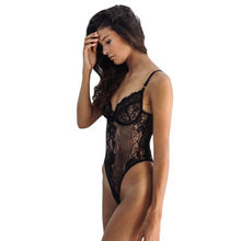 China Black Yummy Scalloped Lace Teddy Lingerie for Valentine, Made of Polyester + Spandex